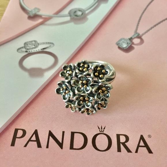 2c584b2bc77247 Pandora Jewelry | Forever Bloom 14k Goldblack Spinel Ring | Poshmark
